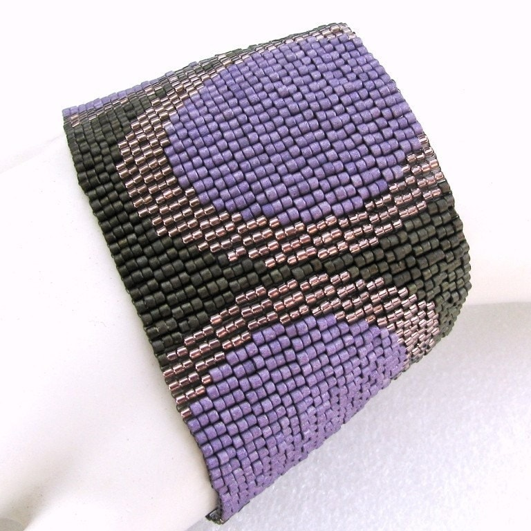 Fashionable Circles in Eggplant and Bronze on Olive Peyote Cuff Bracelet (2505)