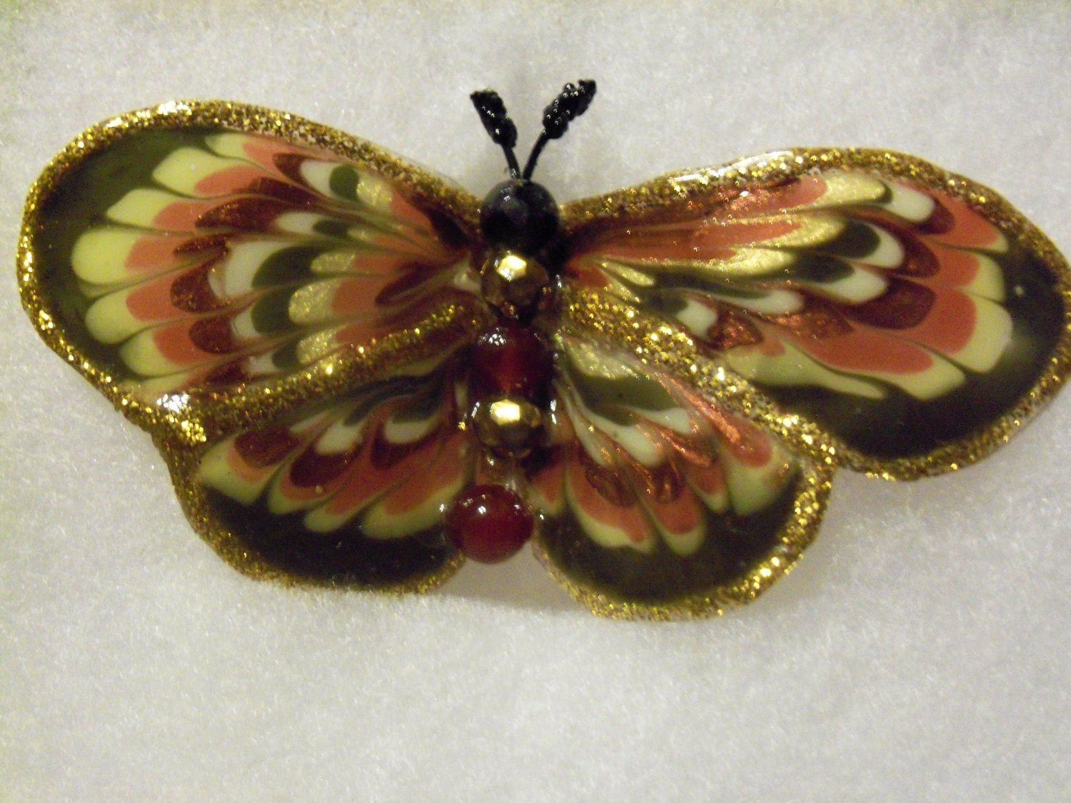 Green and Brown  butterfly brooch