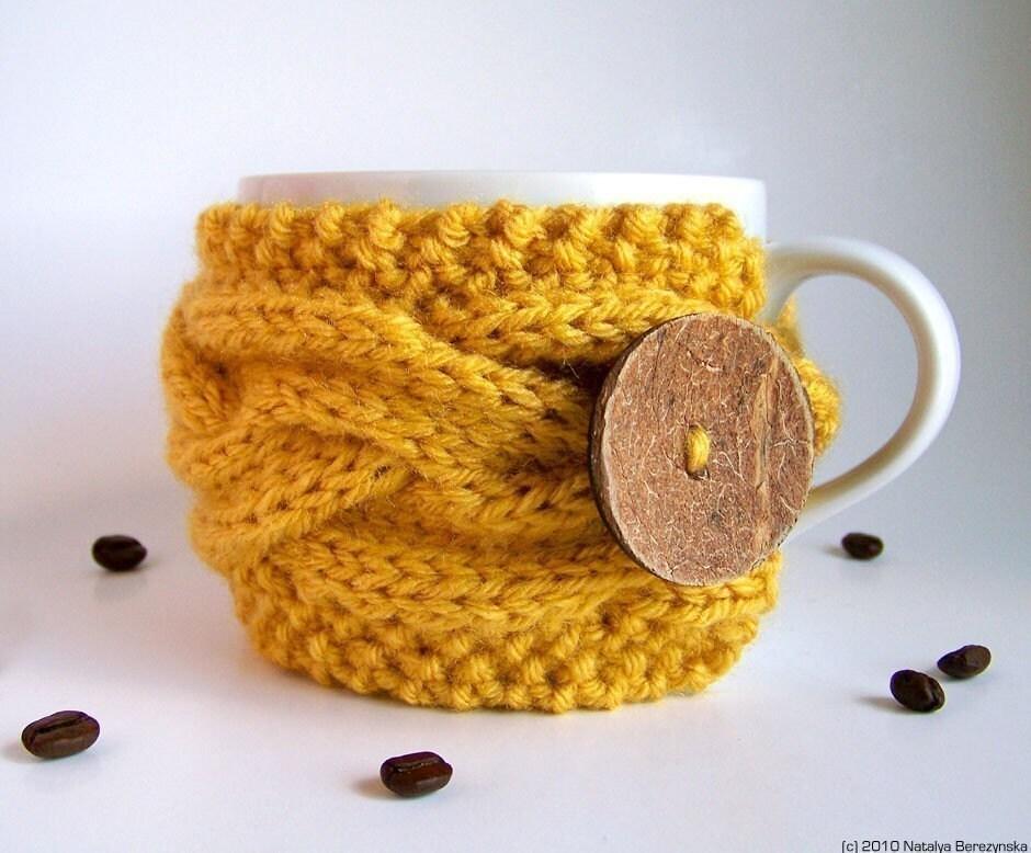 Honey Yellow Cup Cozy, Bee Wax Mug Sleeve, Knitted Cabled, Tea Coffee, Citrine Spice Cinnamon Golden Mustard Saffron Banana Egg Yolk Sun Easter Beach, fresht fttt dreamt elitett