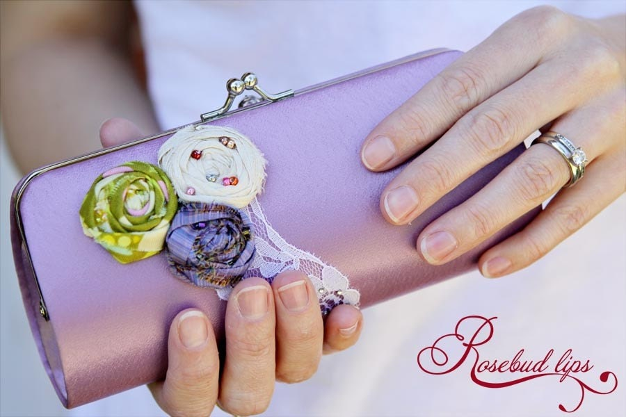 Lavender Rosebud Clutch Purse- Perfect gift for bridesmaids or a ladies night out