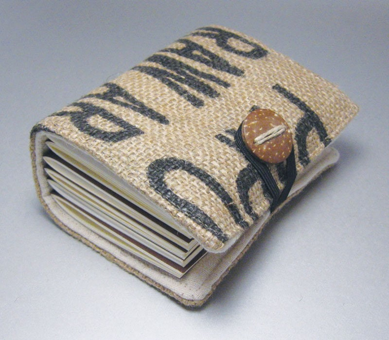 burlap coffee journal made with eco-friendly materials