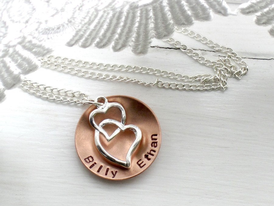 Custom Necklace- Carry My Heart- Hand Stamped Childrens Names for Mom