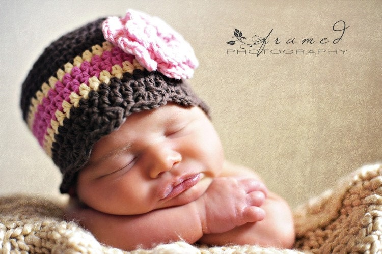 6 to 9  Month Cotton Striped Flapper Beanie - Neapolitan Chocolate Brown,  Cream, Pink