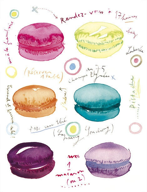 French macarons, 11X14 poster, Tea time at Laduree, Paris, France, French bakery print, watercolor food, kitchen art, pink, purple