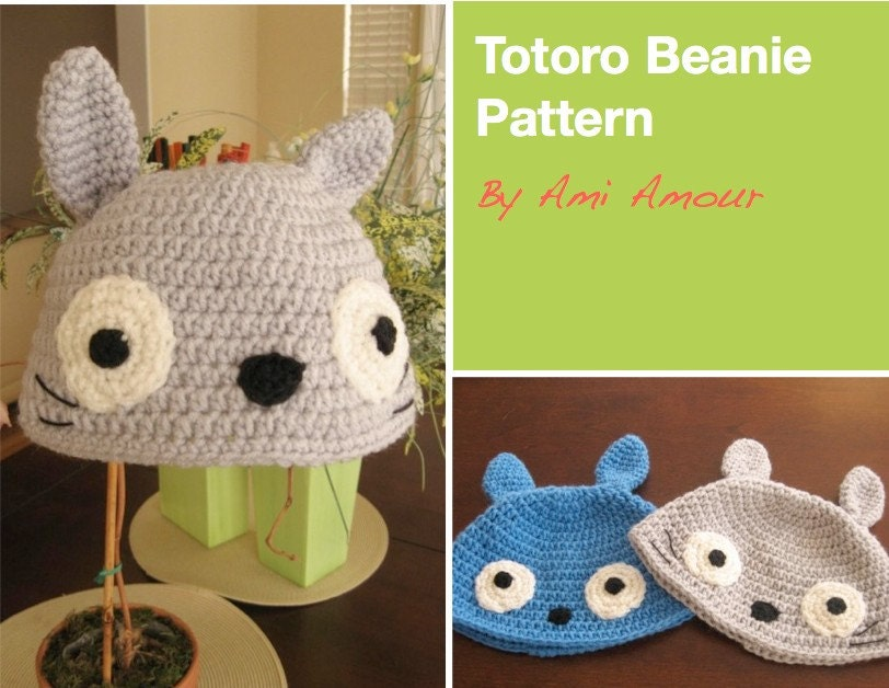 Totoro Hat Pattern PDF Beanie by amiamour on Etsy