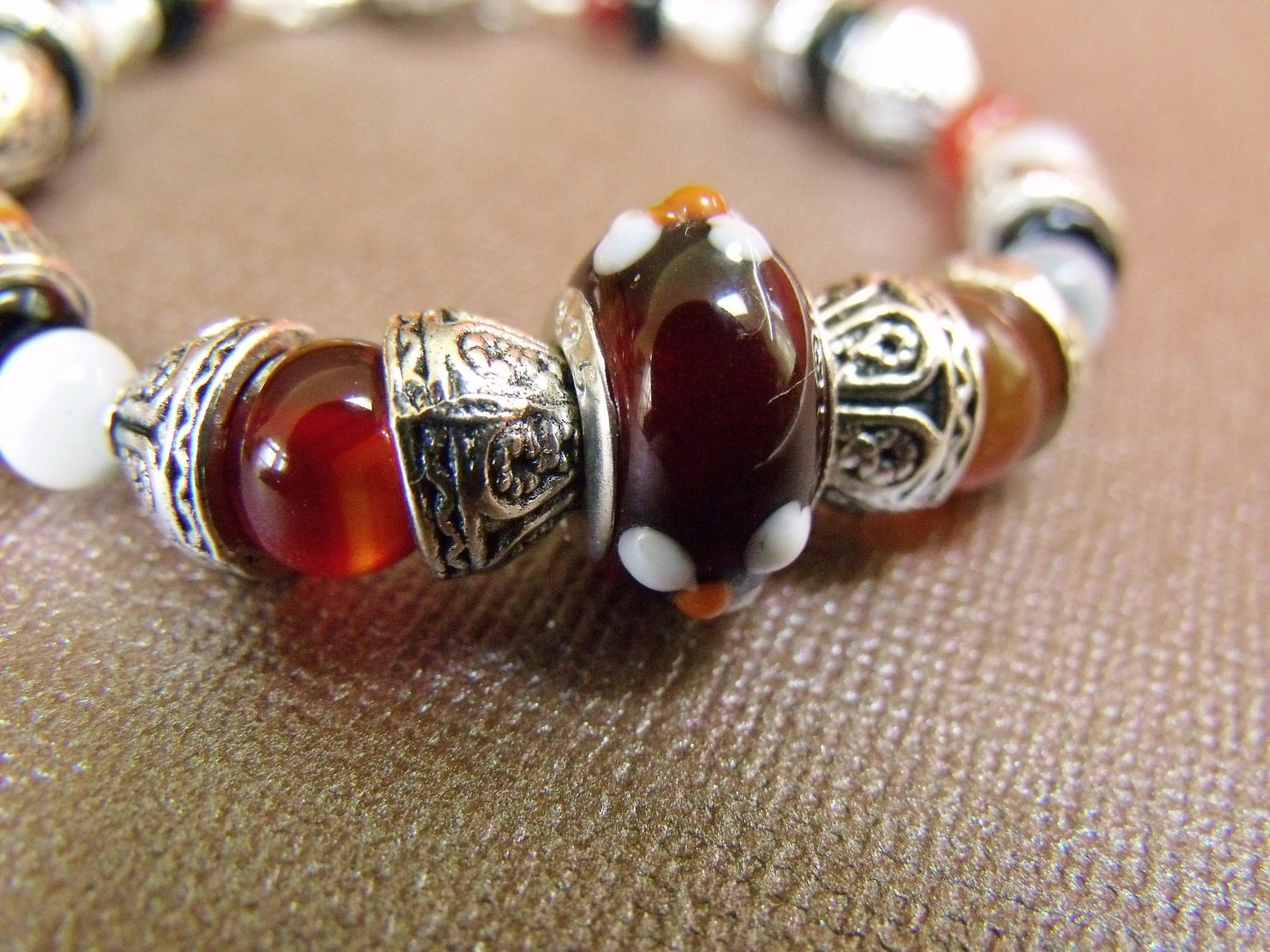 Red and Black Agate and Lamp Work Bead Bracelet