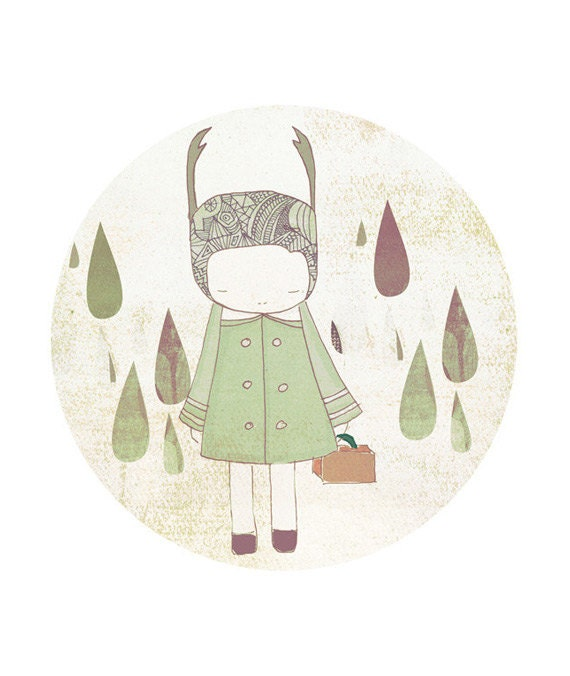 Kid Room Art Child Decor  - Deer Girl and Raindrops Illustration - honeycup