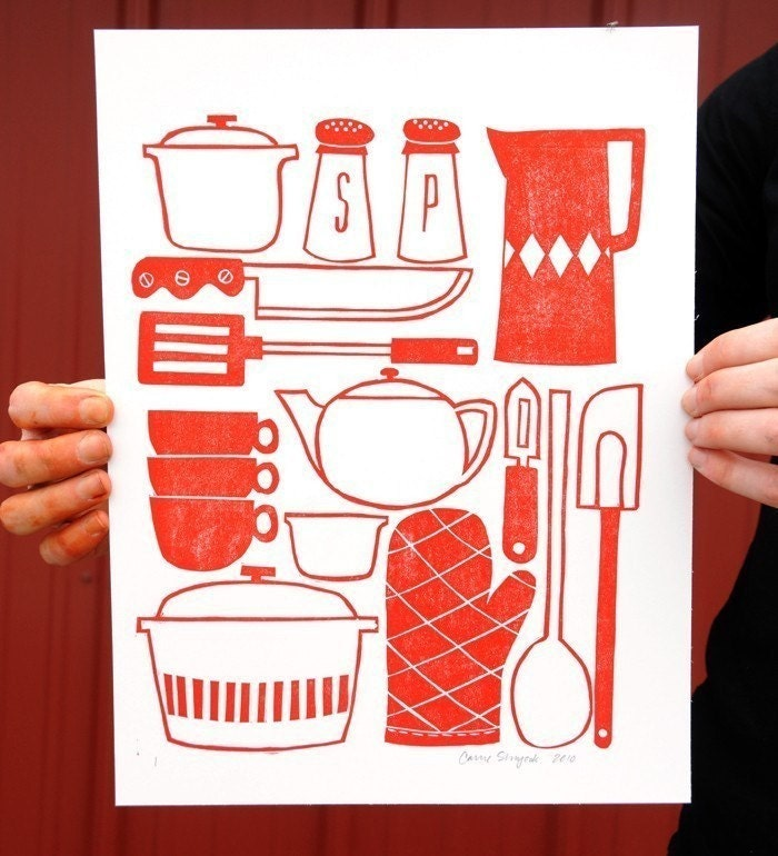 Kitchen Utensils Block Print