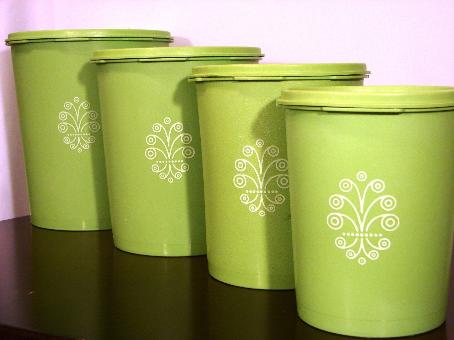 vintage lime green tupperware canister set of 4 by green kitchen canisters