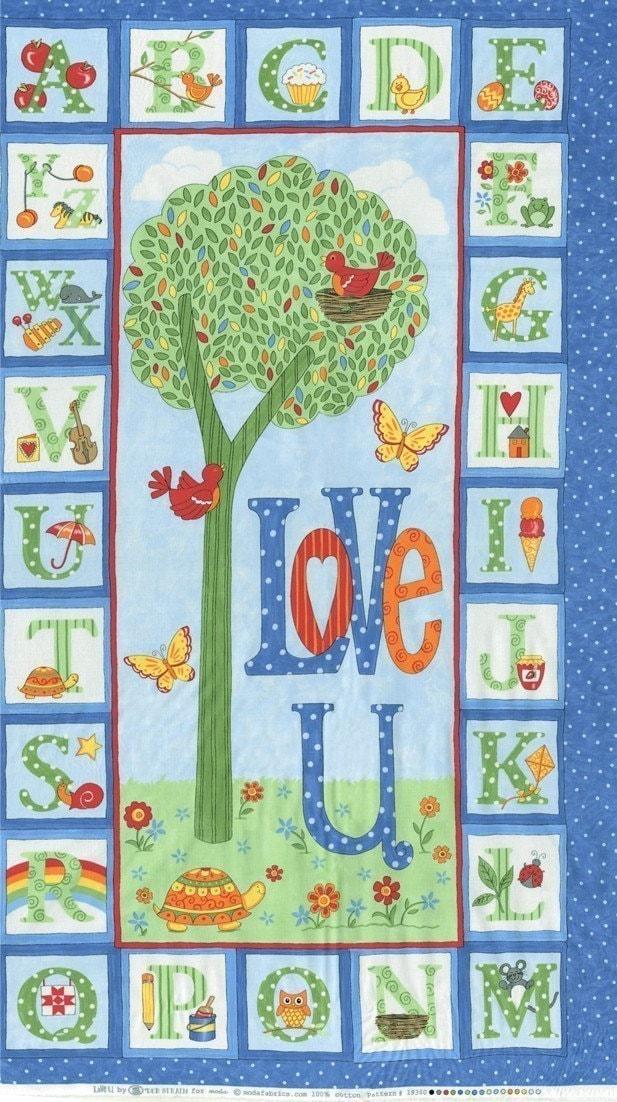 Love U Panel in  Blue Sky-  by Deb Strain for Moda Fabrics