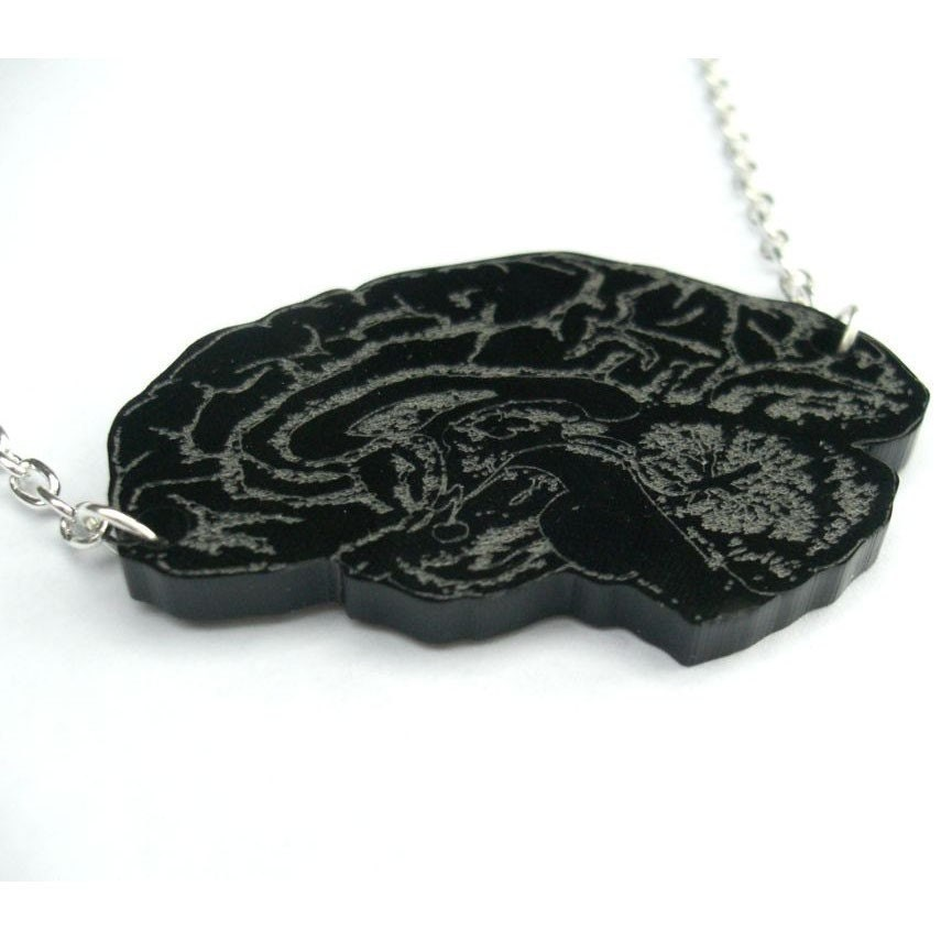 Sectioned- laser-engraved brain necklace in black (limited edition) FREE SHIPPING WORLDWIDE