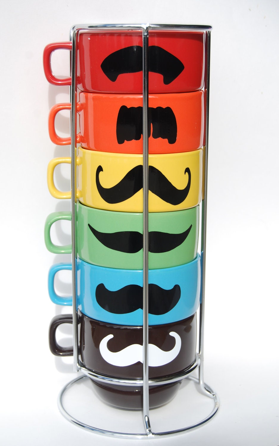 Multi Color Mustache Coffee Mugs - set of 6 stackable mugs and chrome holder - featured in PEOPLE ma