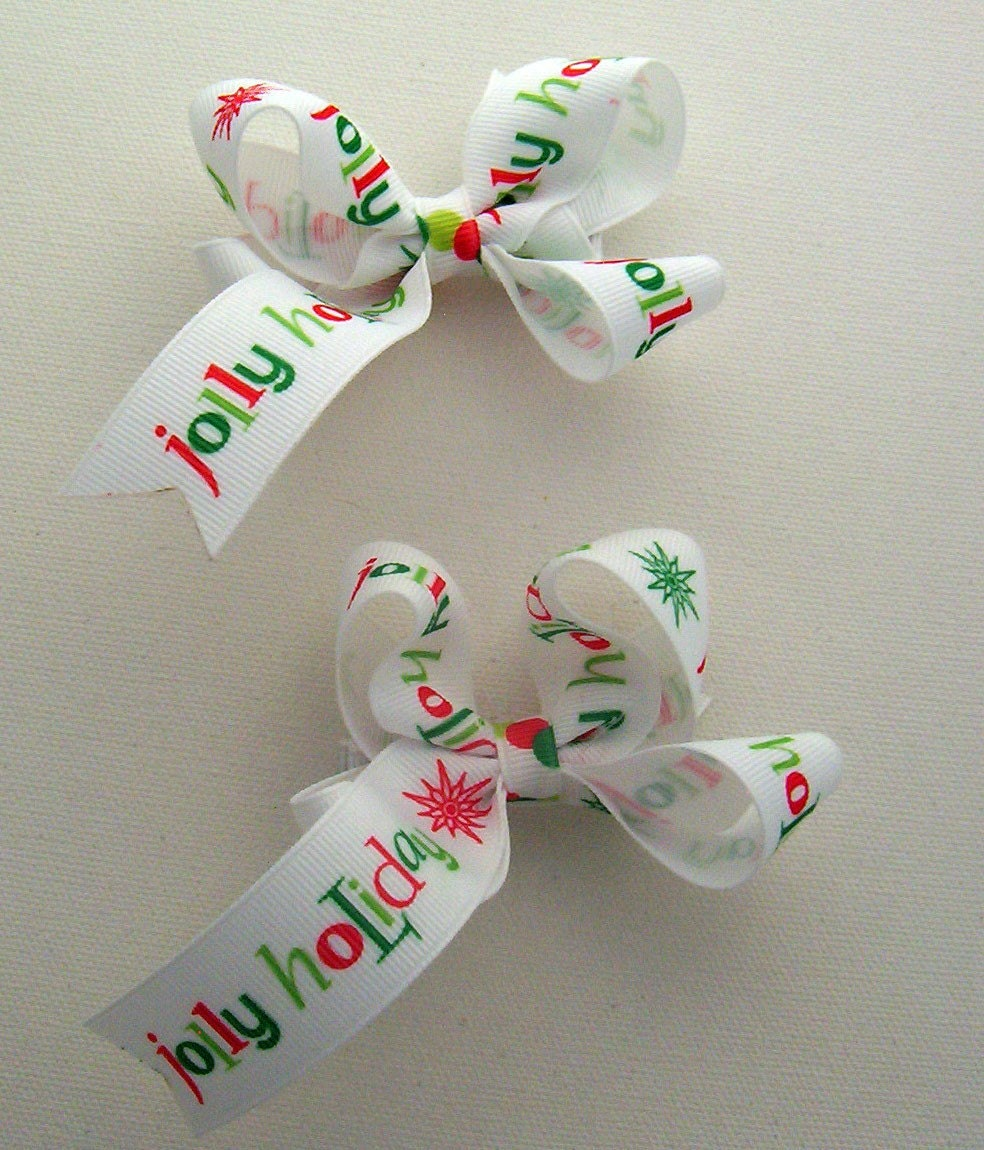 Holiday set of Toddler Bows Piggie Tails