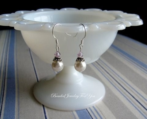 Wedding Earrings - White Pearls and Light Amethyst Swarovski Crystal Bridesmaid Earrings