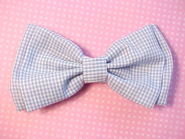 Dorothy Wizard of Oz Blue and White Gingham Print Old School Hairbow Barrette Big Large Hair Bow