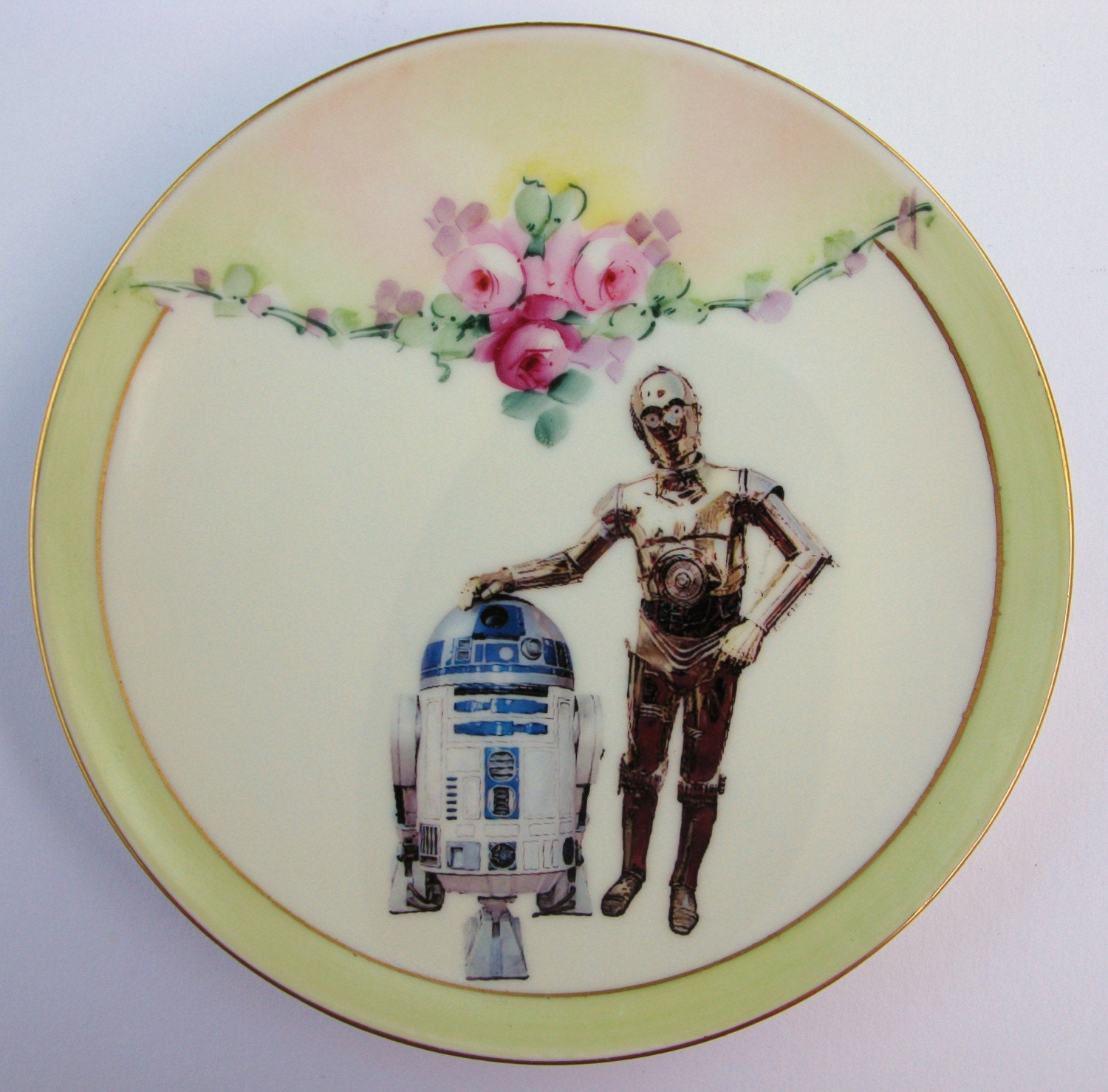 BFF C-3PO and R2-D2 portrait plate - Altered Antique Plate