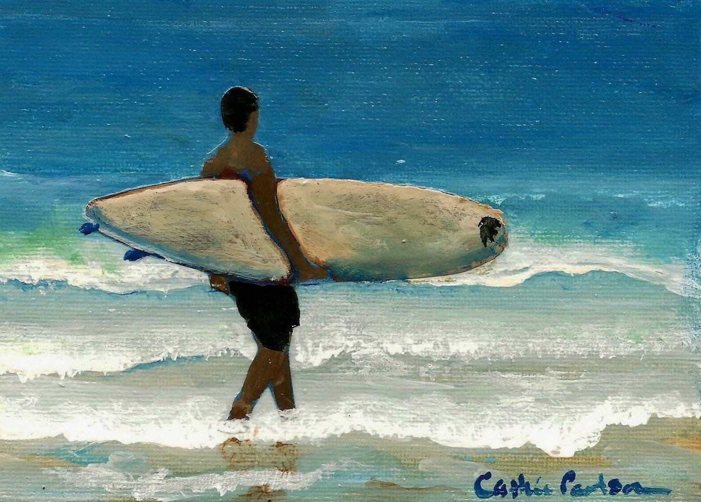Surfer - Original Painting on 8 x 10 inch Canvas