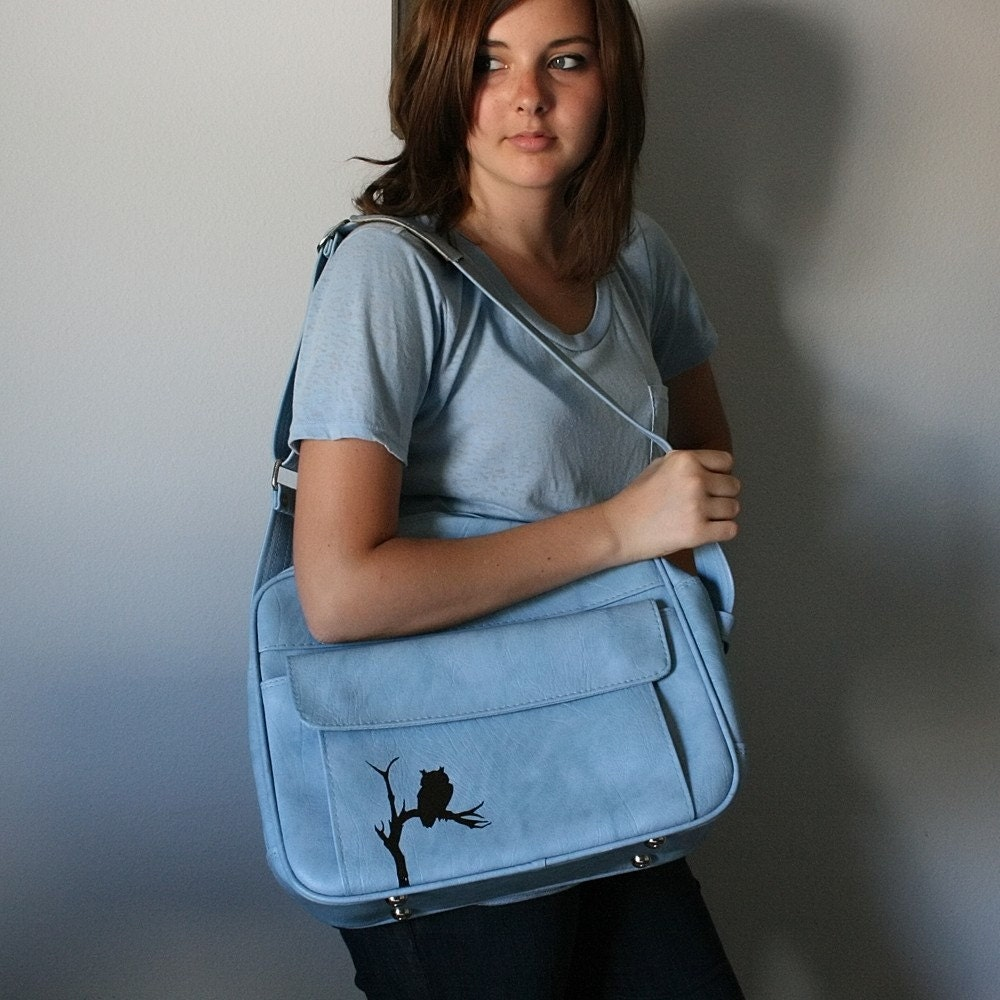 UPCYCLED Powder Blue VINTAGE Messenger Bag with Black Owl in a Tree LUGGAGE