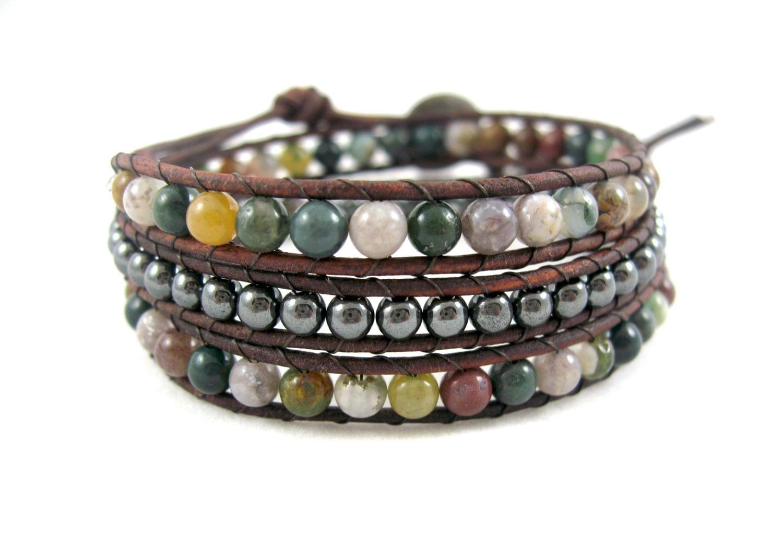 Agate and Hematite Bohemian Bracelet, Boho Beach Jewelry - JadeWalkStudios
