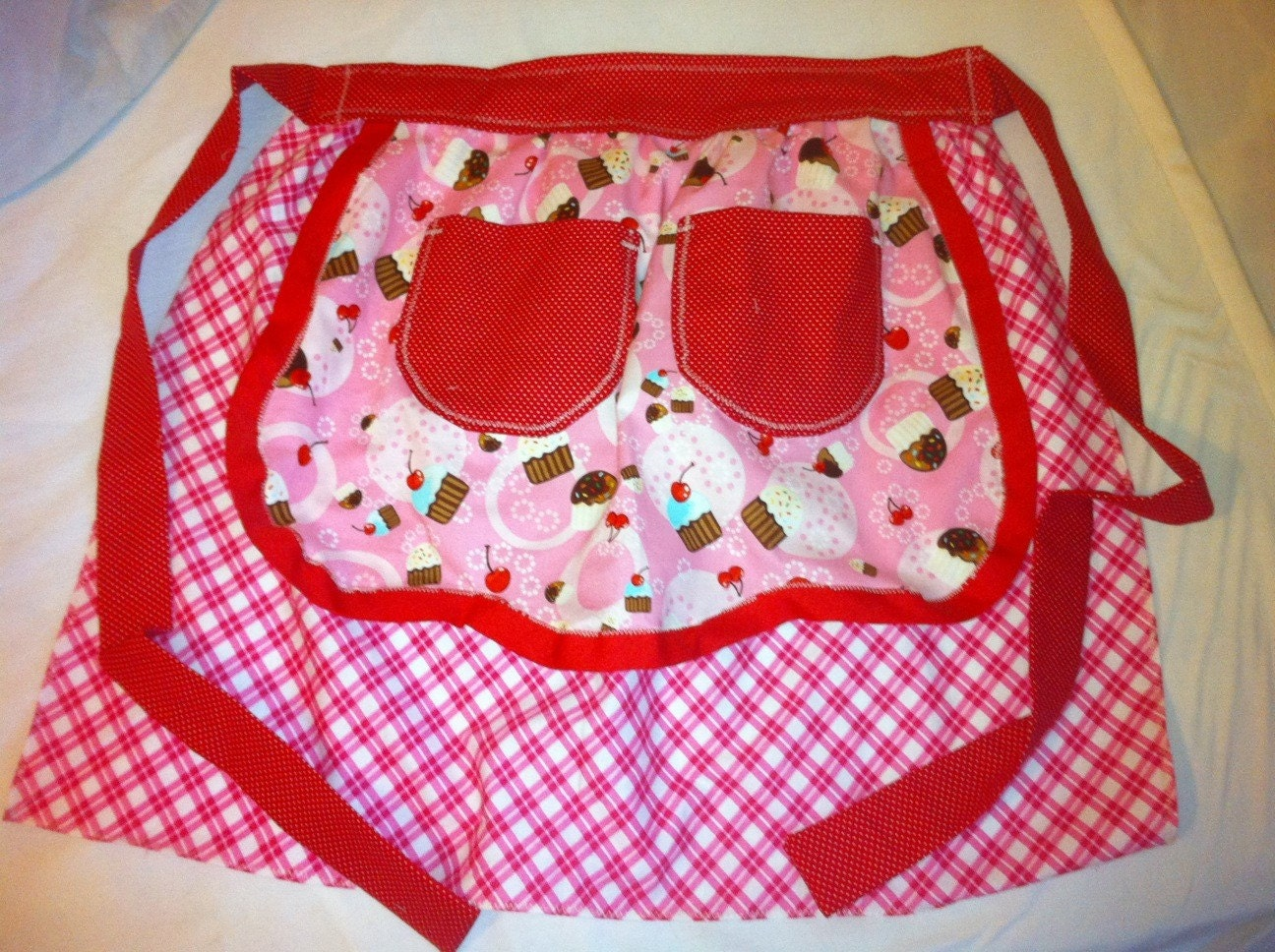 Cupcake half apron Pink gingham and Red polka dot extra long ties