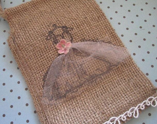 Потертый Chic свадьбы пользу Burlap сумки Набор из 8 - невесты подарки - Vintage Свадебная