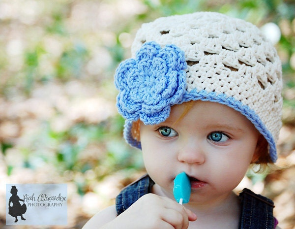 Ecru Hat Beanie with Blue Flower and Green Leaves - Infant Toddler Children