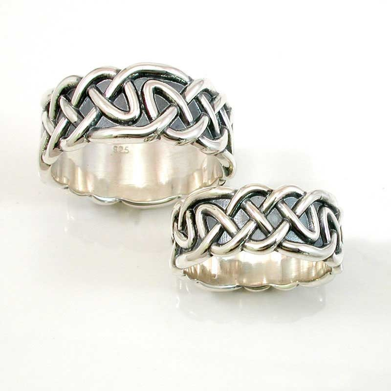 Wedding Ring Set Sterling Silver Celtic Knot By SwankMetalsmithing