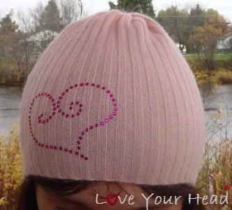 Women's Knit Cashmere Beanie, Pink Hat from Repurposed Sweater with Dark Pink Heart Embellishment, Traditional Fitting Beanie - LoveYourHead
