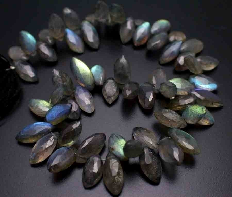 15 Percent Off--Extreme Blue Fire Labradorite Faceted Marquise Briolette Beads--4  Inches--10mm--Dropped from 31