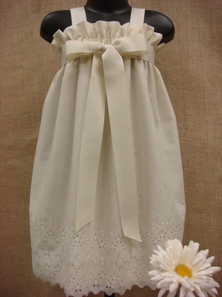 The  Zadee Dress - Perfect Flower Girl or Beach Dress - Ivory or White with Eyelet Border (Sizes 6M, 12M, 18M, 2T, 3T, 4T, 5, 6)
