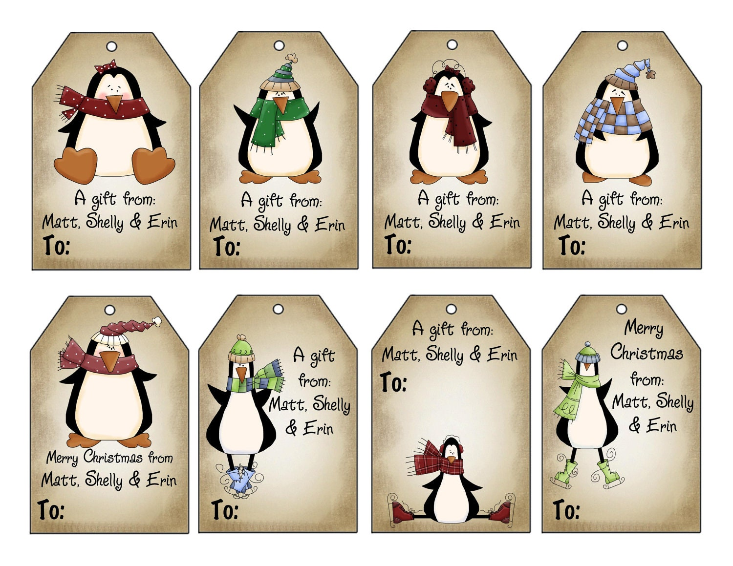 Printable Personalized Winter Penguins Christmas by SwellPrinting