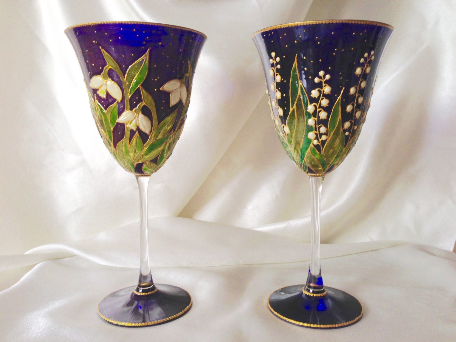 Lili of the Valley and Snowdrop in Midnight Garden Hand Painted Crystal Wine Glasses OOAK Blue Wedding Theme