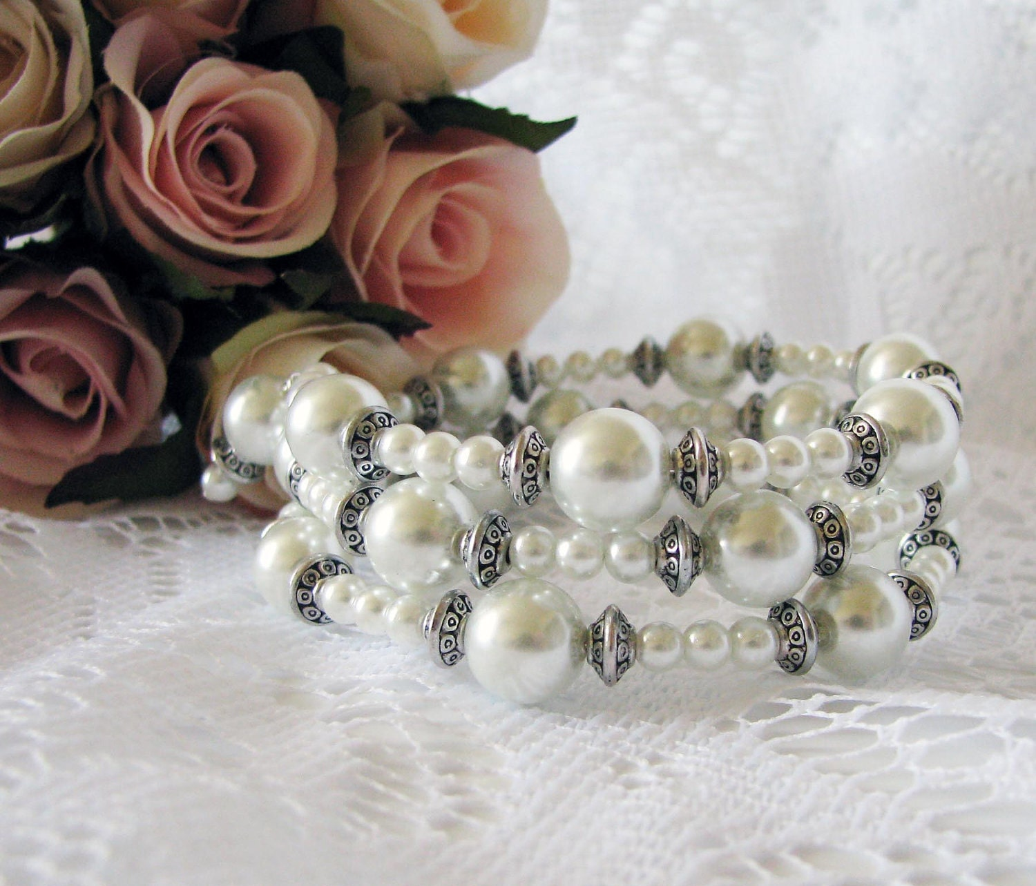 Stacked Pearl Bracelet, One Of A Kind Breacelet, Pearl Beaded Bangle