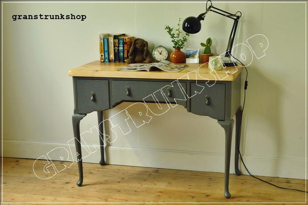 vintage retro desk writing laptop table dressing table Paris Grey finiseh  shabby chic distressed reclaimed top