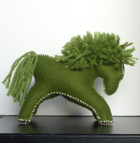 Waldorf Horse, Wool Felt Toy, Hand Stitched Stuffed Animal, Moss Green and Brown