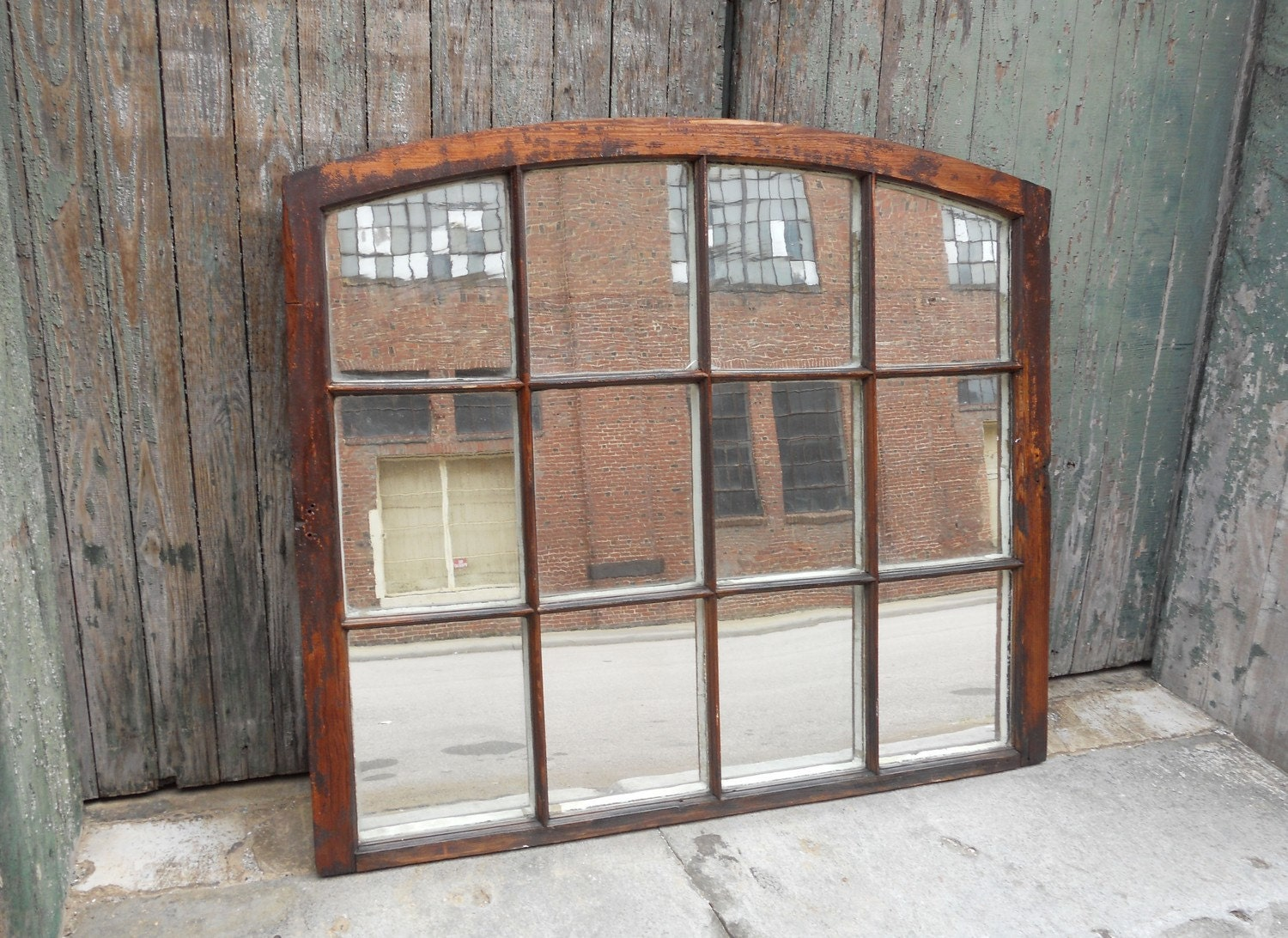 Curved top window pane mirror by bridgeandcolquhoun on etsy for Window wall mirror