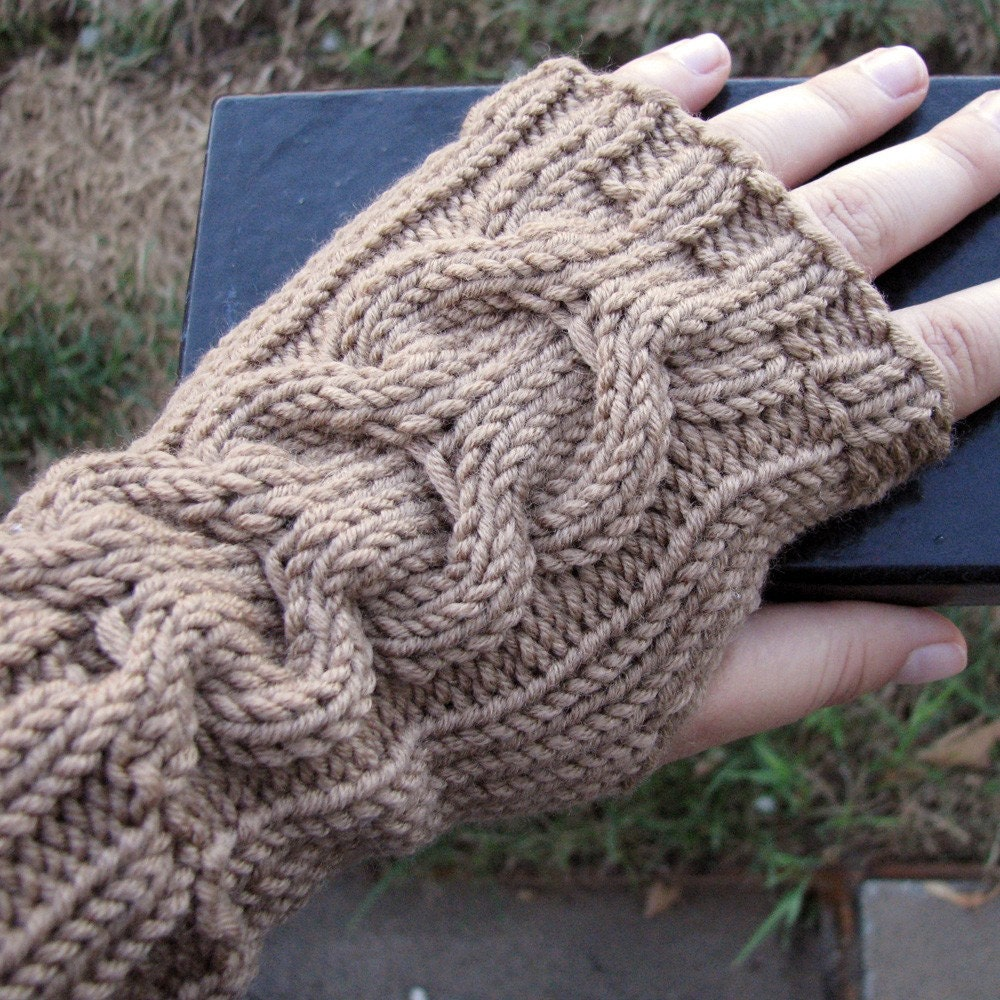 Knit Arm Warmer Pattern : Items similar to Knit arm warmers with cable pattern, brown, fingerless glove...