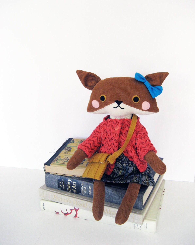 Matilda the Fox // Stuffed Animal Plush Doll  // Corduroy Body with Salmon Chevron Knit Sweater and Cotton Dress