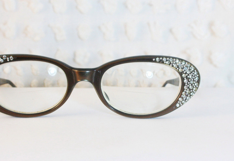 rhinestone oval cat eye 1960 s eyeglasses iridescent by
