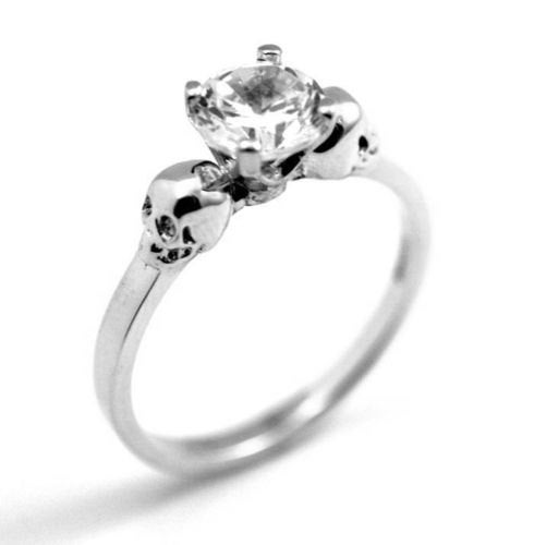 Skull Ring Sterling Silver DiamondUnique Hand Crafted Engagement Ring set with Diamond