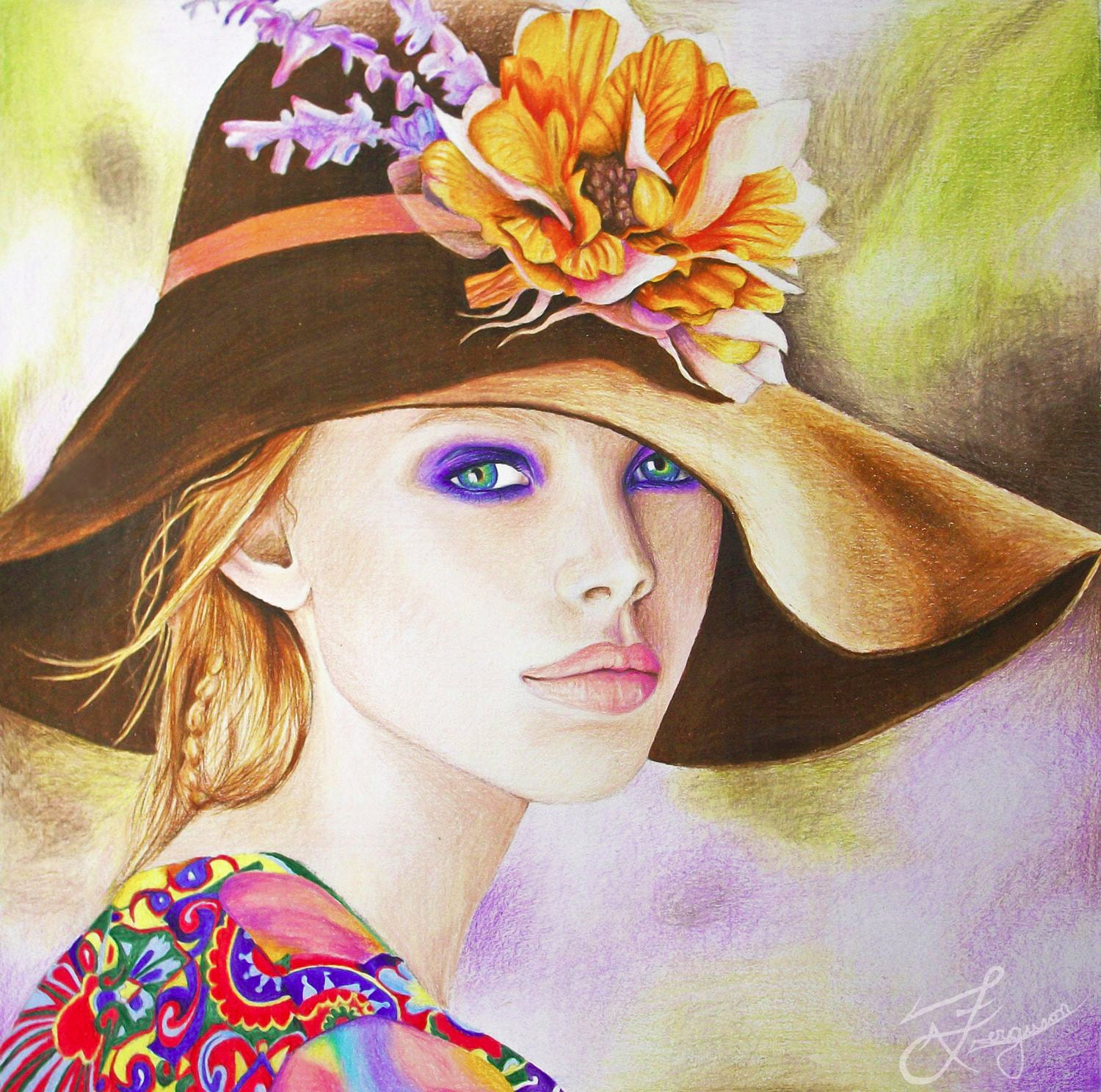 Renewal - Original Art giclee print - boho chic, spring, artwork, home decor - Lady in hat, poppy, colorful - LainyArt