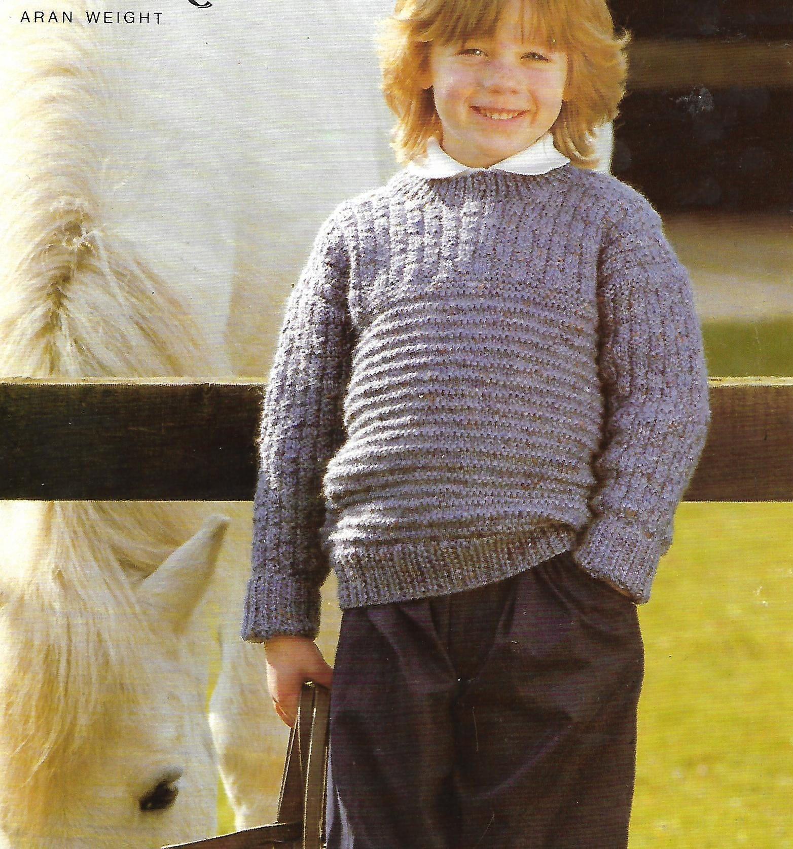 knitting pattern pdf boys sweater jumper aran yarn sizes 2230 inch instant download digital download