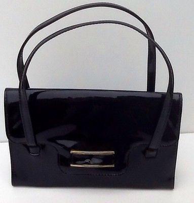 Vintage Kelly Handbag  Glossy Black Patent  1960s