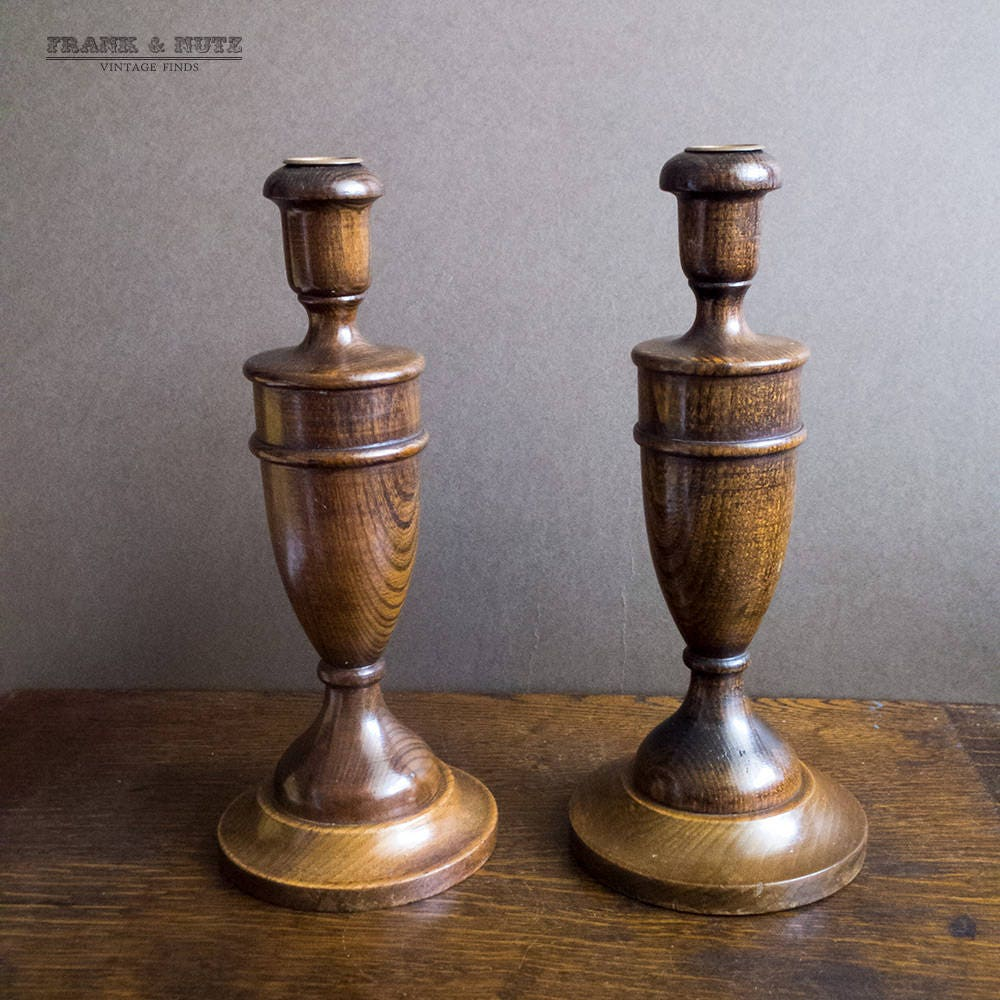 Image of Vintage pair large wood candlesticks, Art Deco candle holders, oak candle holders, brown wood candlestick, 1930s, brass inserts