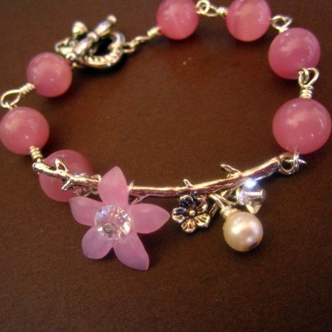 Vintage Inspired Silver Flower Branch and Pink by SnobishDesign