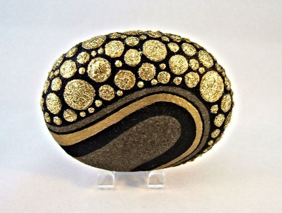 Unique 3d Art Object Ooak Painted Rock Black Gold By