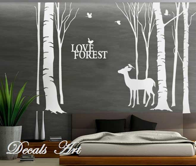 Items similar to deer in the forest vinyl wall sticker for Deer mural decal