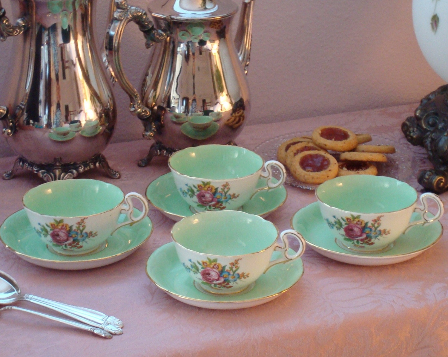 Tea Time Necessity....Set of Four Vintage Royal Grafton Tea Cups and Saucers Footed