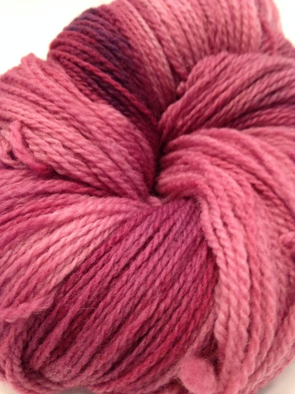 Raspberry Beret Pink Hand Dyed Yarn, Fingering Weight Wool - IndigoKittyYarns