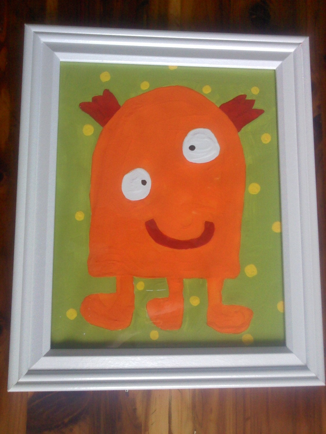 Framed Kids Monster Painting
